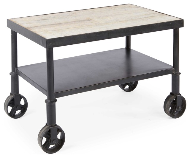 Belker Industrial Loft Reclaimed Wood Iron Casters Cart Side Table   Side  Tables And End