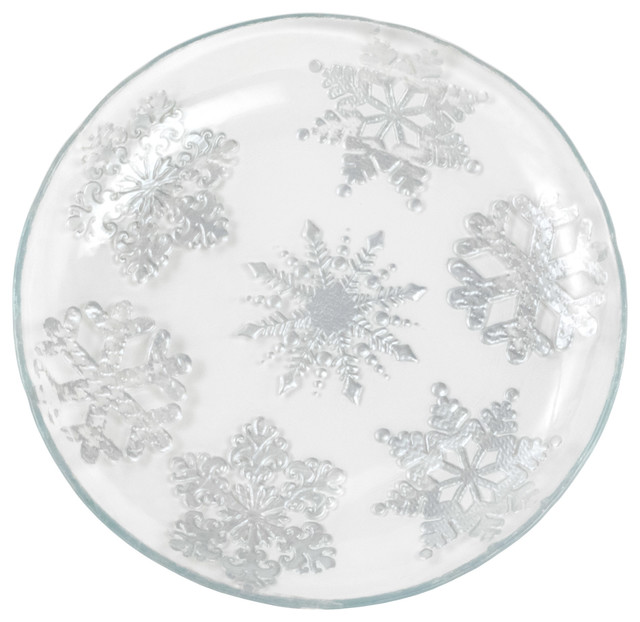 Small Clear Glass Snowflake Plate With Silver Painted