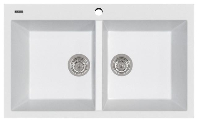 Elegance Series Double Basin Drop-In Sink, Milk White.
