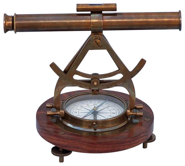 Alidade Compass, Antique Brass, 14''
