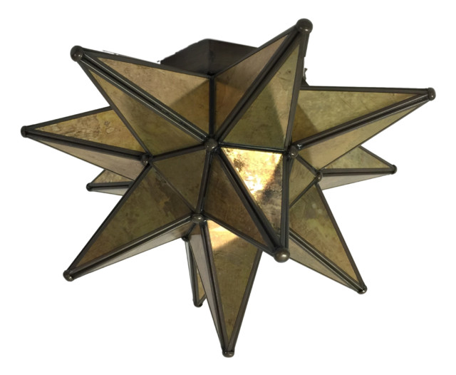 Moravian Star Ceiling Light Flush Mount Antique Glass Bronze Trim