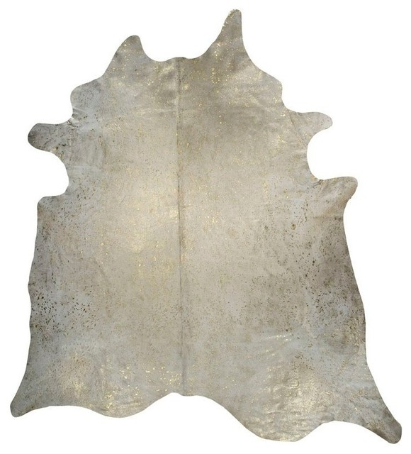 Devore Metallic, White With Gold Small Pattern Cowhide, 6&x27;x7.5&x27;.
