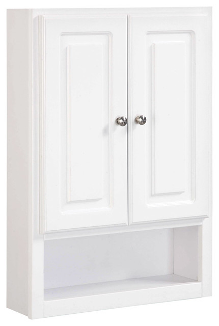Concord White Gloss Wall Bathroom Cabinet with 2-Doors and ...