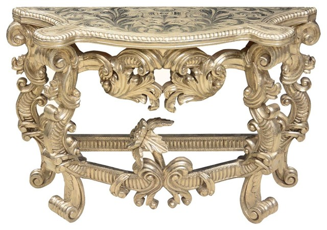 White Silver Regence Louis Xiv Mango Wood Ornate Hall Console Table