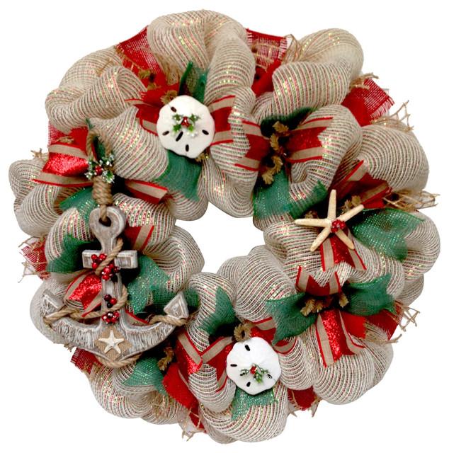 coastal beach christmas deco mesh and burlap wreath with wood anchor - Christmas Burlap Wreath