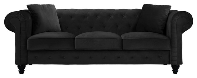 Traditional Velvet Upholstered Chesterfield Sofa With Accent Pillows, Black
