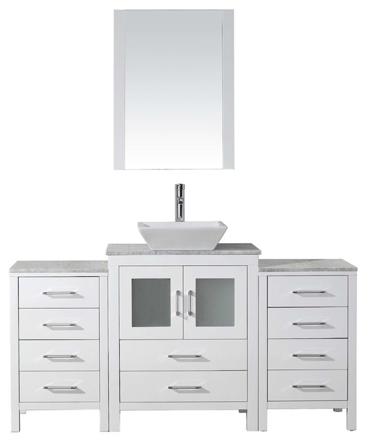 Dior 60 Single Bathroom Vanity, White With Marble Top, Square Sink.