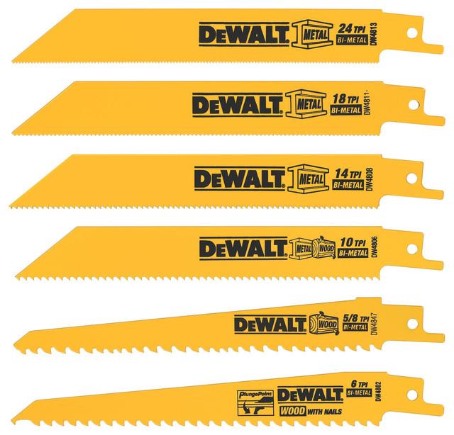 Dewalt 6-Piece 6 Metal & Wood Reciprocating Saw Blade Set.