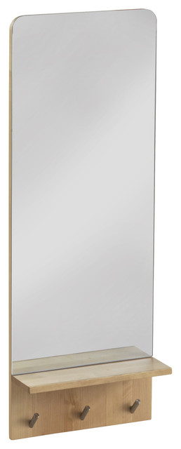 Torrelavega Vertical Wall Mirror With Coat Hooks, 35x95 cm