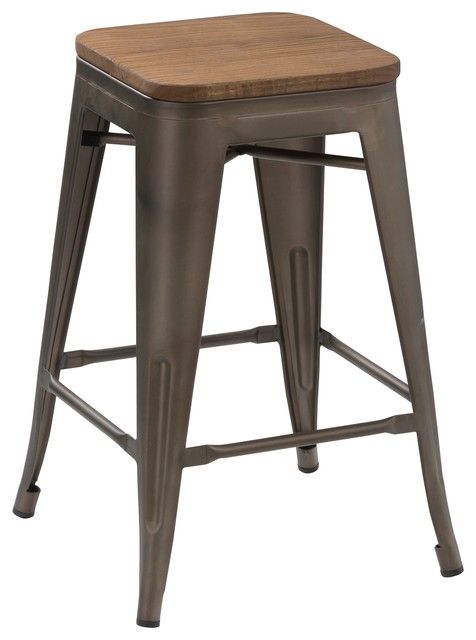 Solid Steel Stackable Natural Industrial Antique Rustic