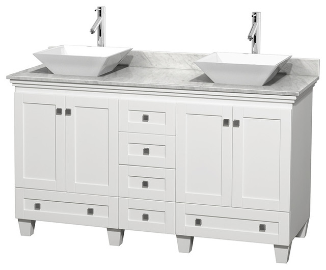 """60"""" Acclaim White Double Vanity, White Carrera Top And Pyra White Porcelain Sink."""