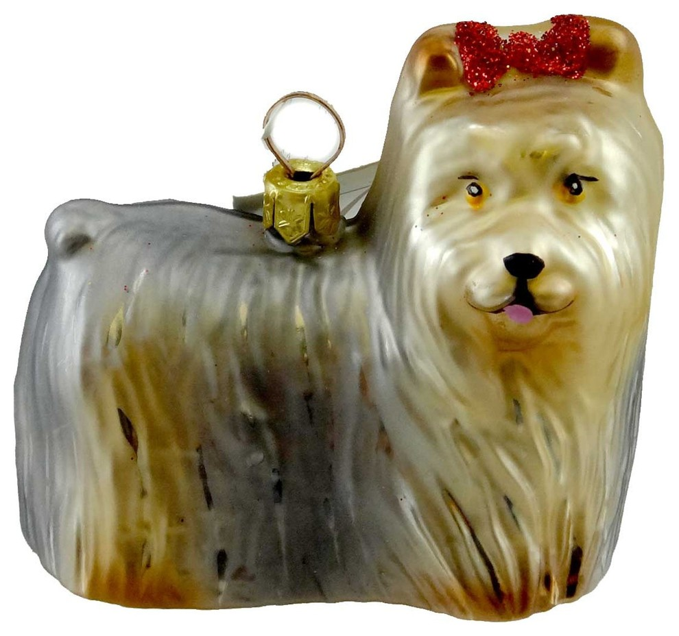 Holiday Ornament Yorkie Blown Glass Dog Pet Yorkshire