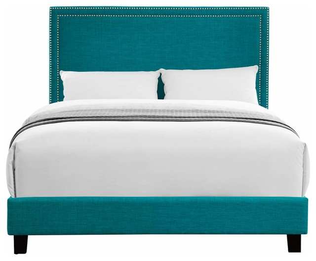 Picket House Furnishings Emery Upholstered Platform Bed, Teal, Queen