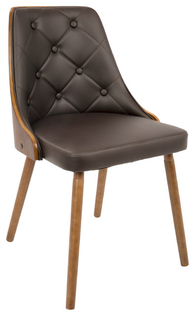 LumiSource Gianna Dining Chair, Walnut and Brown