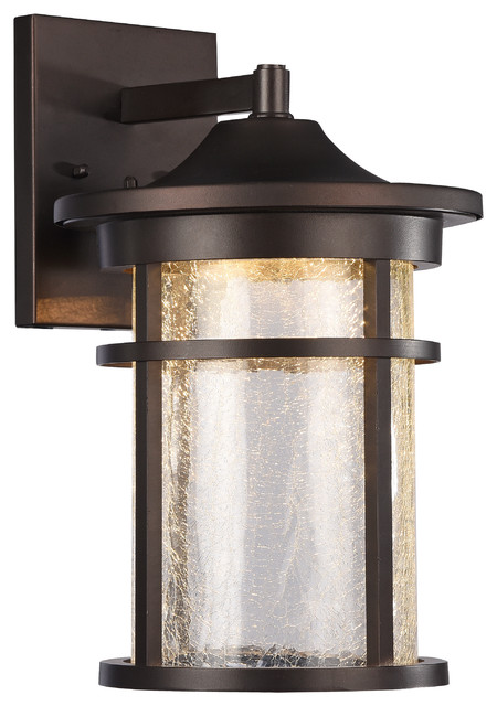 Colleyville Transitional LED Outdoor Wall Sconce, Rubbed Bronze, Large