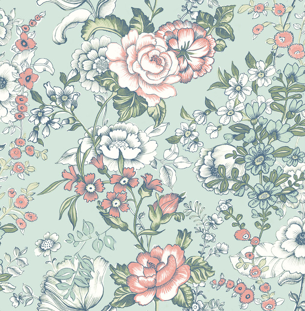 Ainsley Aqua Boho Floral Wallpaper Farmhouse