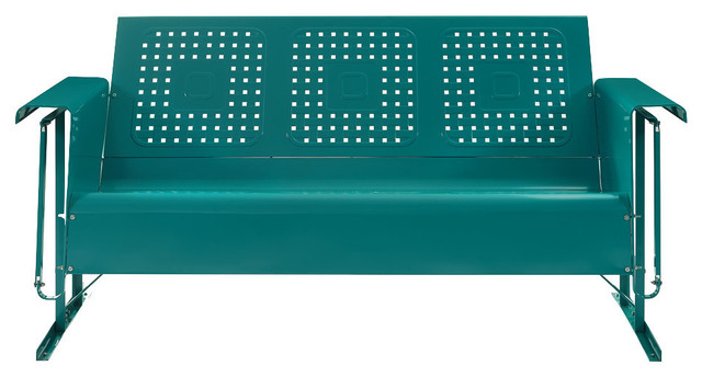Bates Metal Sofa Glider, Turquoise - Contemporary - Outdoor Gliders ...
