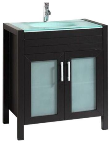 """Roca Bathroom Cabinet Integrated Glas Tempered Sink, Espresso, 30""""."""