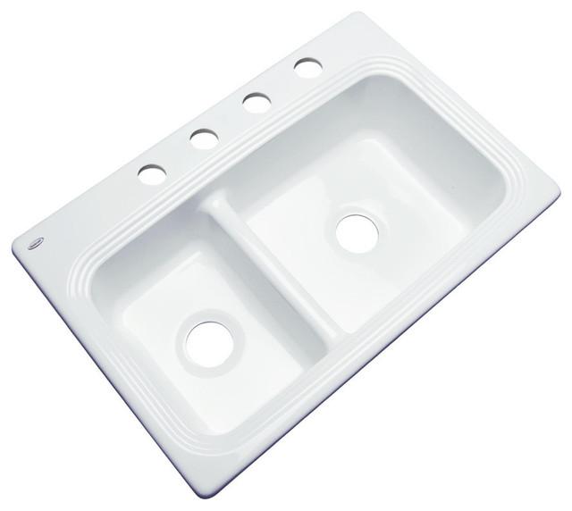 Hawthorne 4-Hole Kitchen Sink, White.