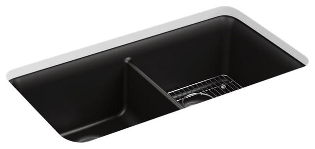 "Kohler Cairn Neoroc Double-Equal Sink, 33-1/2""x18-5/16""x9-1/2"", Matte Black."