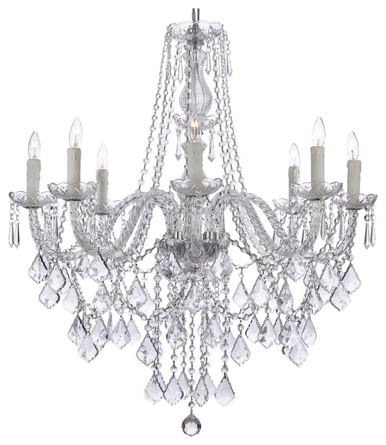 "8-Light Crystal Chandelier 33""x28""."