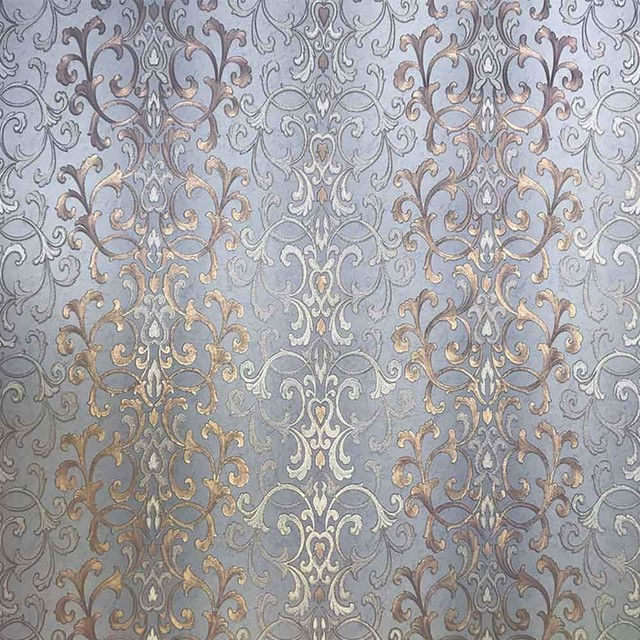 Damask Wallpaper Gray Blue Bronze Gold Metallic Textured 8 5 X 11 Sample