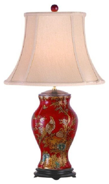 Chinese Red Lacquer Porcelain Vase Bird Table Lamp Shade And Finial 27 Asian Lamps By William Sung