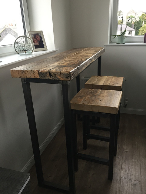 236b857918c Industrial Style Reclaimed Wood Breakfast Bar and Two Stools industrial