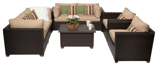 Premier Outdoor Wicker 7-Piece Patio Set, Beige.