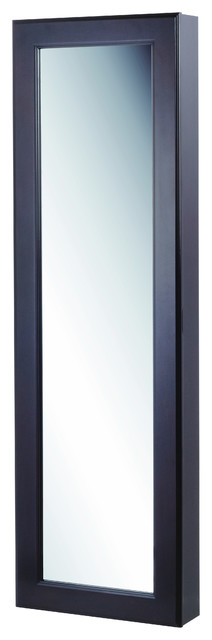 Wall Mounted Jewelry Armoire With Mirror, Black