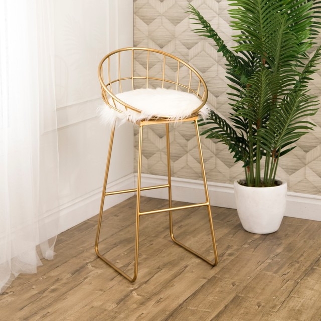 Abbyson Living Ayala Gold and Faux Fur Bar Stool
