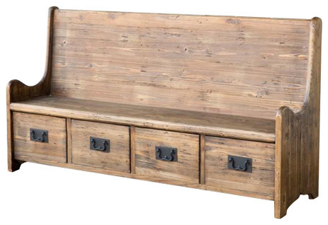 Reclaimed Pew Bench With Drawers
