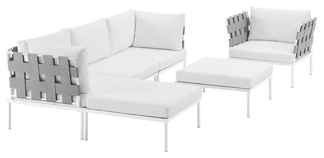 Modway Harmony 6 Piece Outdoor Patio Aluminum Sectional Sofa Set, White White.
