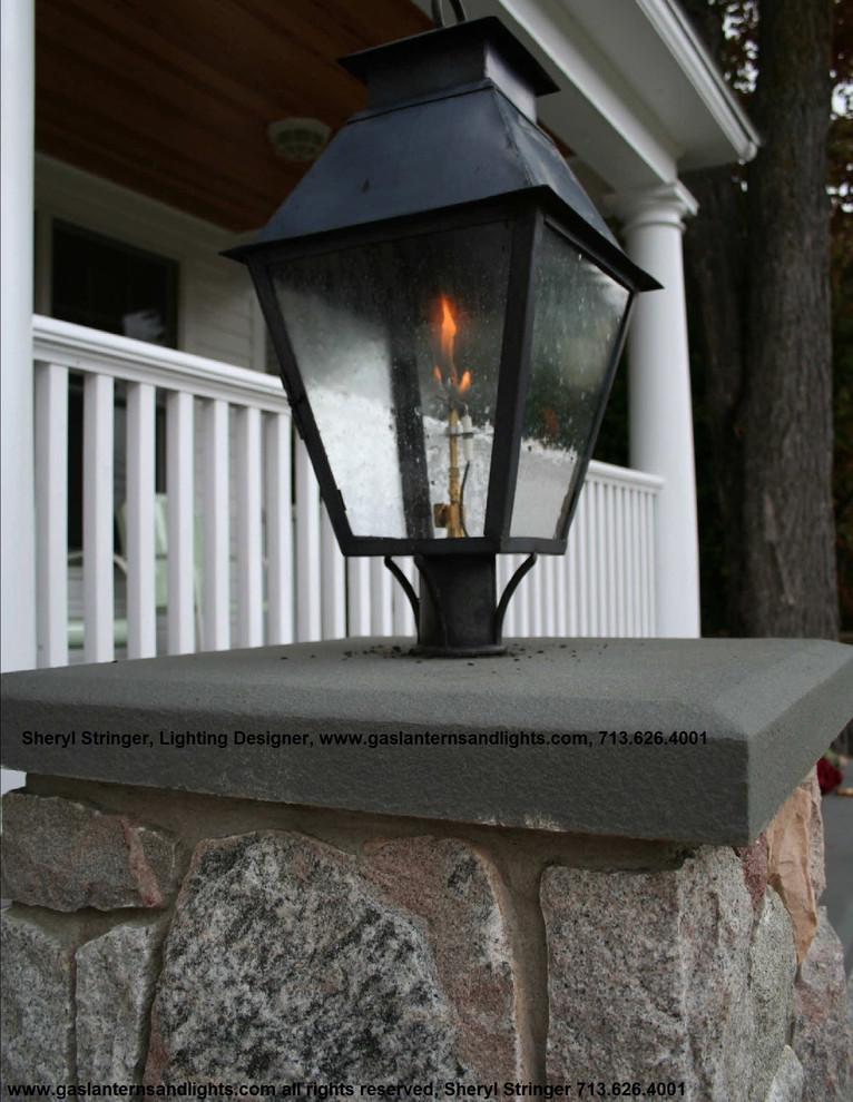 V Style Gas Lantern On Stone Columns by Sheryl Stringer, Dark Patina Finish