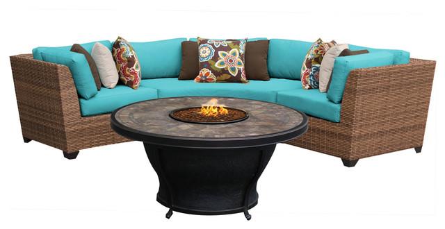 Laguna 4 Piece Outdoor Wicker Patio Furniture Set, Aruba.