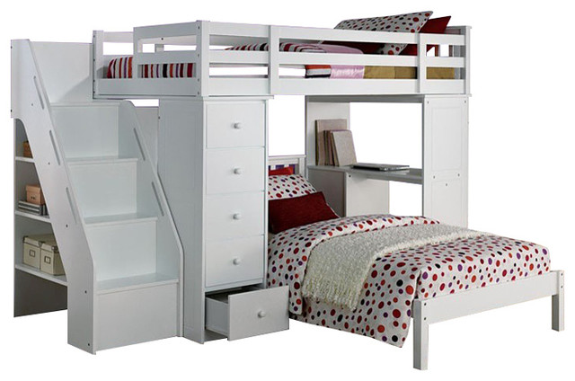 Megan Twin Size Loft Bed Desk Chest All In 1 Workstation And Lower