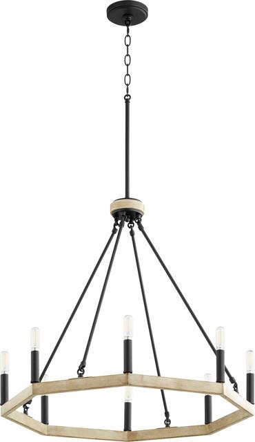 Alpine 8-Light Chandelier, Noir With Driftwood