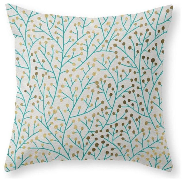 berry branches turquoise and gold throw pillow contemporary decorative pillows - Turquoise Decorative Pillows