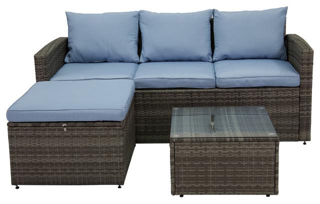 Rio 3-Piece Wicker Conversation Set With Storage, Gray Wicker/blue Cushions.