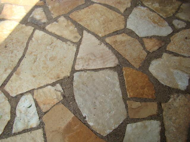 back yard random flagstone patio traditional patio - Flagstone Patio Designs