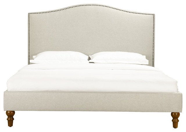 Fleurie Upholstered Bed With Nailhead Trim, King.