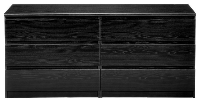 Scottsdale 6-Drawer Double Dresser, Black Wood Grain.
