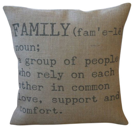 "Family Definition Burlap Pillow, 16""x16""."