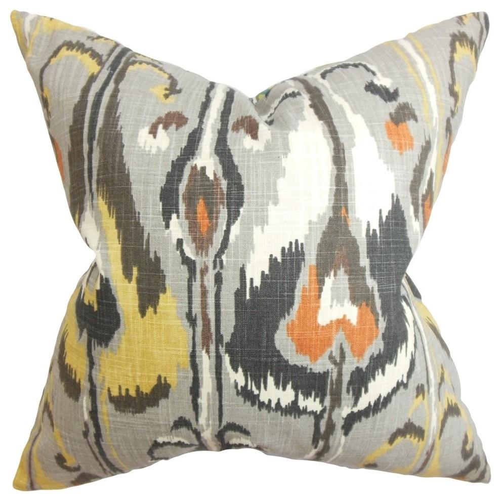 Gray The Pillow Collection Djuna Ikat Pillow