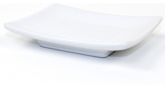 Square White Pottery Soap Dish Contemporary Dishes Holders By Thebathoutlet