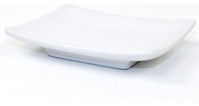 Square White Pottery Soap Dish