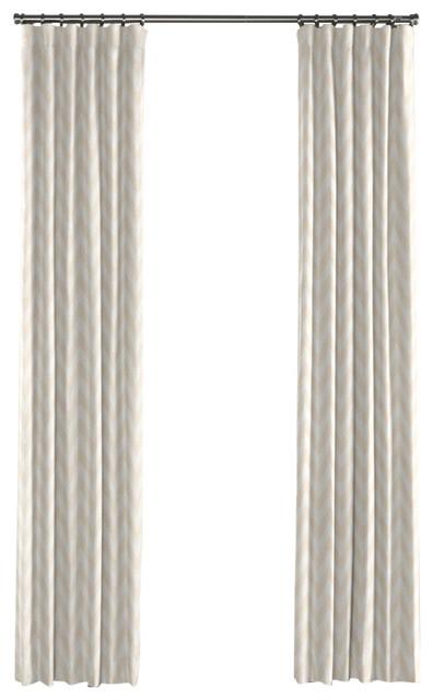 Metallic White And Gold Chevron Curtain Single Panel