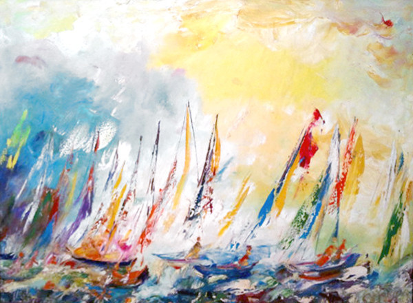 Sirena, Yellow Ships, Oil Painting