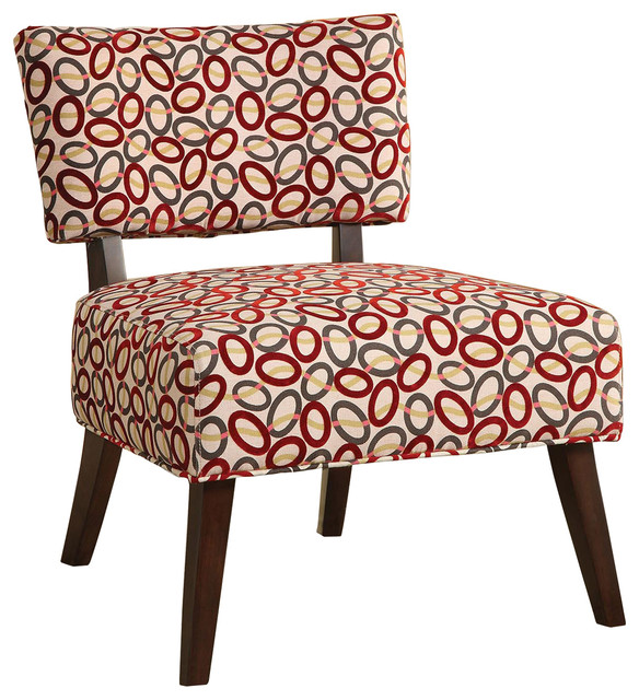 Red And Gray Ovals Patterned Accent Chair Contemporary