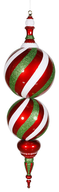 Candy finial ornament red white and green traditional